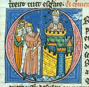 Siege of Antioch - A 13th-century depiction of John the Oxite's imprisonment from William of Tyre's Histoire d'Outremer, in the care of the British Museum