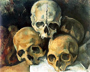 Pyramid of Skulls - Paul Cézanne. Pyramid of Skulls, oil on canvas, c. 1901, 37 cm × 45.5 cm. Private collection.