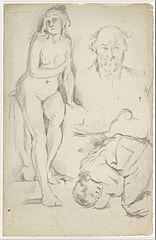 Studies of Three Figures, Including a Self-portrait
