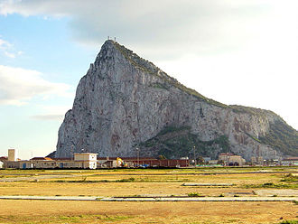 Koehler Depressing Carriage - The problem that the carriage was designed to overcome: firing from the Rock of Gibraltar down into the Spanish positions below (located at the photographer's viewpoint)