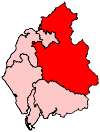 A large constituency, comprising the north and east of the county, and almost entirely surrounding a smaller constituency in the north.