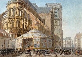 Arrival of Napoleon at Notre-Dame Cathedral for his coronation as Emperor of the French on 2 December 1804 Percier et Fontaine 004.jpg