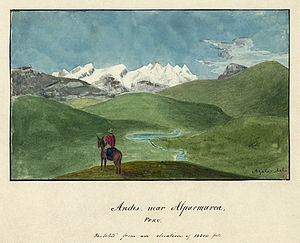 "Alfred Thomas Agate - ""Andes near Alparmarca, Peru: Sketched from an Elevation of 16,000 Feet"".  Illustration by Alfred Agate from the South American portion of the United States Exploring Expedition, digitally restored."