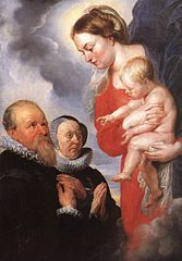 Virgin and Child, with Alexander  Goubau, (1540-1614): Grand Aumonier of Antwerpen