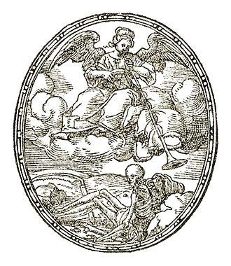 Bernard Salomon - Woodcut of Petrarch's Triumph of Fame by Bernard Salomon,  from Bernard Salomon: Illustrateur Lyonnais, 1550