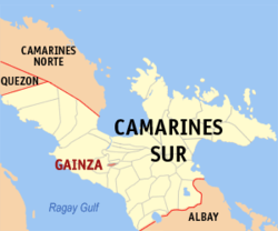 Map of Camarines Sur showing the location of Gainza