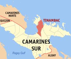 Map of Camarines Sur showing the location of Tinambac