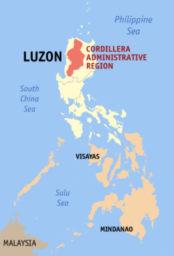Map of the Philippines showing the location of Cordillera Administrative Region
