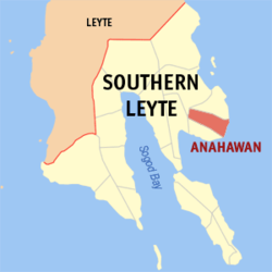 Map of Southern Leyte with Anahawan highlighted