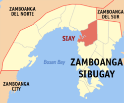 Map of Zamboanga Sibugay with Siay highlighted