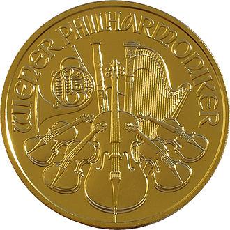 Vienna Philharmonic (coin) - Image: Philharmoniker 00 back