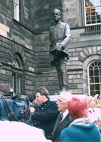 James Braidwood (firefighter) - Photograph taken at the unveiling of the new statue of James Braidwood in Edinburgh on 5 September 2008. The person in the dark suit and tie was the statue's main sponsor, Dr Frank Rushbrook CBE