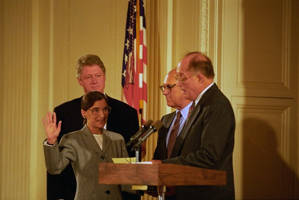 Photograph of President William J. Clinton Attending the Swearing-In of Judge Ruth Bader Ginsburg as Associate Supreme Court Justice