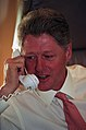Photograph of President William J. Clinton Talking on the Telephone to Prime Minister Yitzhak Rabin of Israel from his Office on Air Force One - NARA - 3432819.jpg
