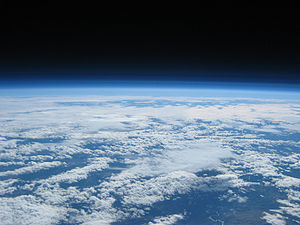 Earth and clouds seen at 100,000 feet above Or...
