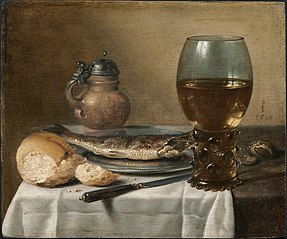 Still Life with Stoneware Jug, Wine Glass, Herring, and Bread