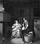 Pieter de Hooch - Lady with baby and maid showing her a flat fish KMSsp614.jpg