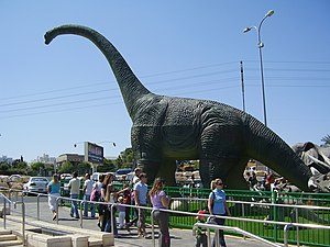Cultural depictions of dinosaurs - A big model of Brachiosaurus in Rishon LeZion's Cinema City, Israel.