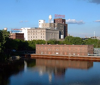 Pillsbury A-Mill - The mill in 2005, a hydroelectric station in the foreground