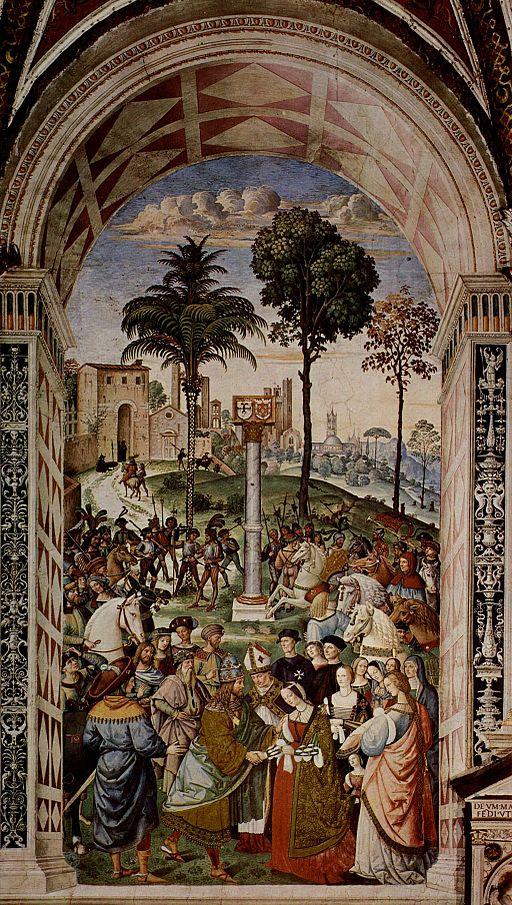 Pinturicchio, Libreria Piccolomini, Enea Silvio, vescovo di Siena, presenta Eleonora di Portogallo all'imperatore Federico III