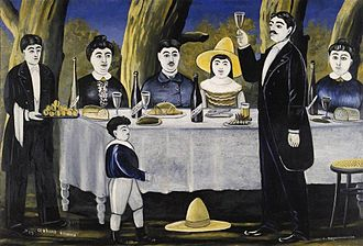 Georgians - Georgians having a feast at Supra and Tamada making a toast. Painting by Niko Pirosmani.