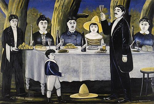 Georgians having a feast at Supra and Tamada making a toast. Painting by Niko Pirosmani. Pirosmani. Family party.jpg