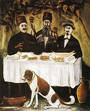 A Feast of Three Noblemen, a painting by Pirosmani, 1905.