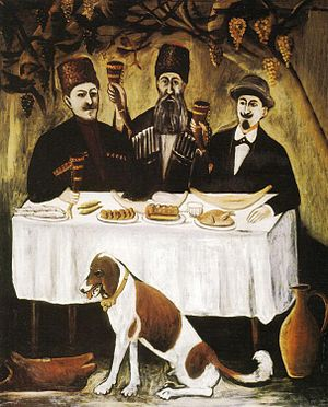 "Keipi - ""The keipi of three noblemen"", by the Georgian naïve artist Pirosmani."