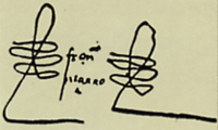 """Since Pizarro could not write like many of his contemporaries, he used his curlicue signature (""""rubrica"""") on the left and on the right of his name. Then a writer set the name between them."""