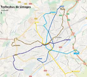 Trolleybuses in Limoges - Image: Plan lignes trolleybus Limoges