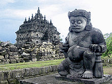 dvarapala the giant guardian in front of plaosan temple