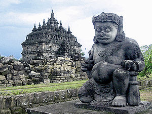 Dvarapala - One of two pairs of dvarapala, 9th century Buddhist temple of Plaosan, Java, Indonesia.