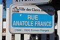 Plaque rue Anatole-France, Les Clayes-sous-Bois, Yvelines.jpg