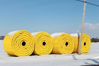 Tile drainage - Polyethelene corrugated drainage pipe, Ida Township, Michigan