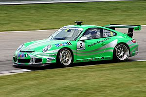 Porsche Supercup - American Mark Gillies driving at Indianapolis Motor Speedway in the 2005 Porsche Michelin Supercup series