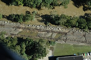 Port Jervis Line - Washout on the tracks south of Harriman after Hurricane Irene.
