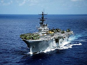 A port bow view of the amphibious assault ship...