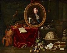 Tableau présentant Louis XIV en protecteur des arts et des sciences.