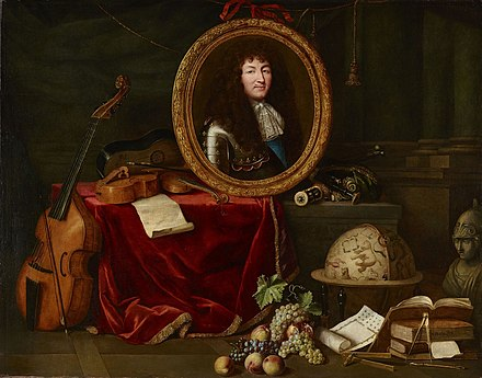 Painting from 1667 depicting Louis as patron of the fine arts Portrait de Louis XIV entoure des arts et des sciences.jpg