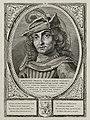 Portret van Jan I, graaf van Holland, met een hoofddeksel met een pluim. De omlijsting is versierd met het wapen van Holland. NL-HlmNHA 1477 53012913.JPG