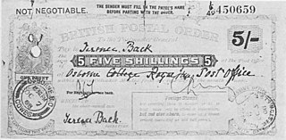 Postal order Type of money order issued by a Post Office