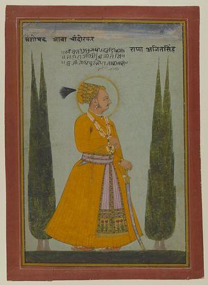 Ajit Singh of Marwar - Posthumous Portrait of Maharaja Ajit Singh of Marwar, 1762. Brooklyn Museum.