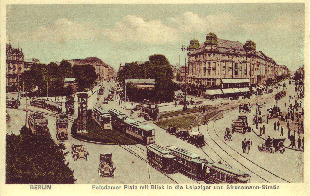 Carrefour de la Potsdamer platz à Berlin en 1900.