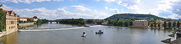Prague panorama upstream from the Charles Bridge