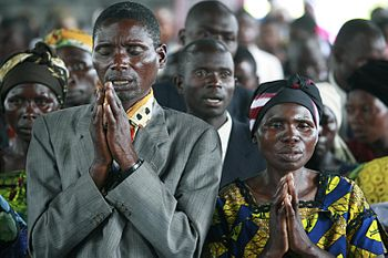 Christians praying in Goma, DR of Congo.