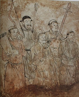 Khitan tomb mural in Inner Mongolia - attendants holding a musical instrument, bow and arrows, boots, and a falcon Preparing for hunting, mural from Tomb in Aohan, Liao Dynasty.jpg