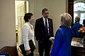President Barack Obama greets Secretary of State Hillary Clinton before their meeting outside the Oval Office on June 22, 2009. Senior Advisor Valerie Jarrett is at left. Secretary Clinton broke her elbow last week and had surgery on Friday..jpg