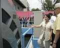 President Gloria Macapagal-Arroyo views the pumping machine during the launching of the Abucay Pumping Station 02.jpg