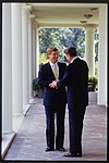 President Ronald Reagan speaking with Republican Senator Dan Quayle of Indiana.jpg
