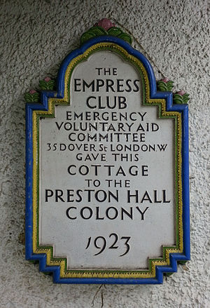Preston Hall, Aylesford - Preston Hall Colony, plaque commemorating gift of cottages by the Empress Club.